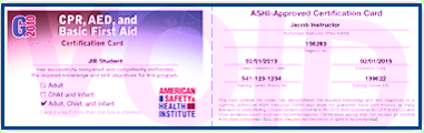 ASHI certification card (all except Combo)