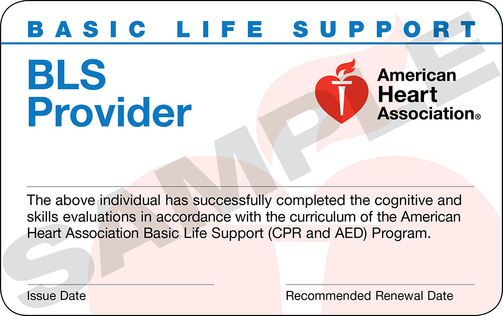 AHA BLS certification card
