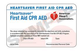 AHA Heartsaver certification card